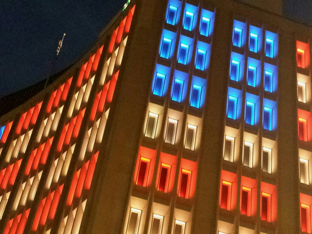 Flag display on IPL building in Indianapolis Memorial Day weekend 2015.